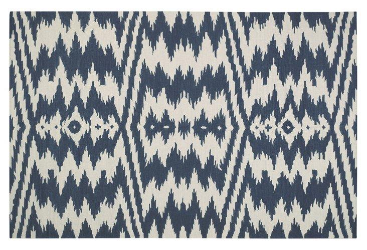 Uzbek Flat-Weave Rug, Bokrum Blue