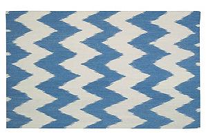 Wild Chevron Flat-Weave Rug, Blue