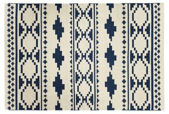 Tribe Flat-Weave Rug, Bokrum Blue