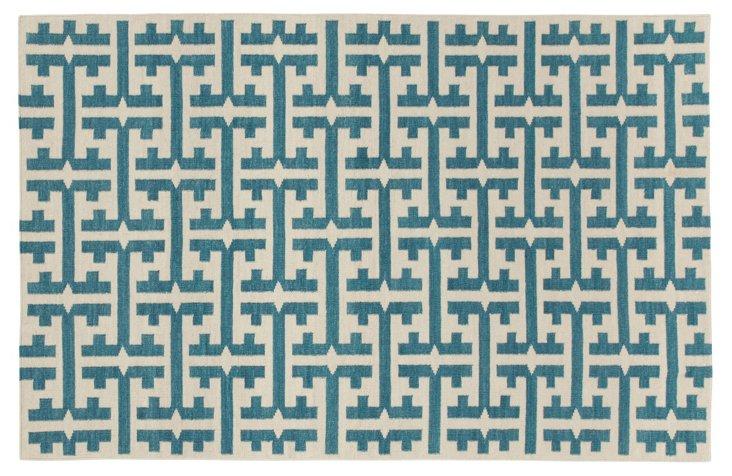 The Greek Flat-Weave Rug, Turquoise