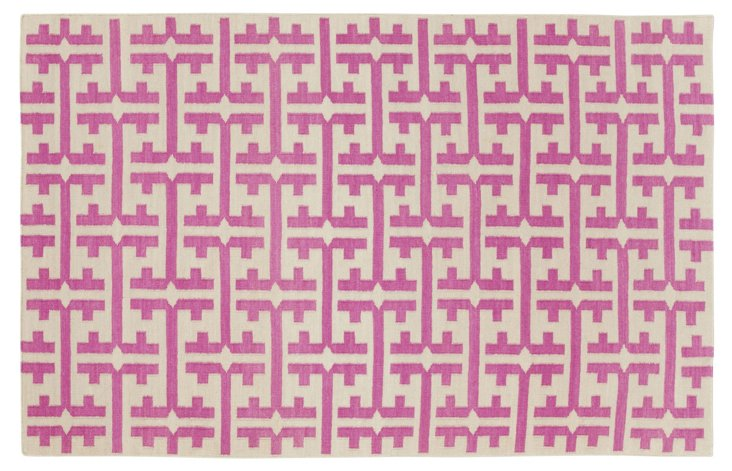 The Greek Flat-Weave Rug, Dark Blush