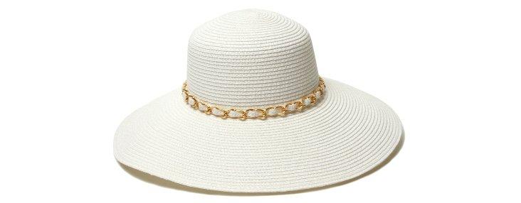 Portofino Chain Trim Hat, White