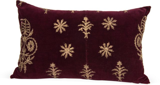 Vintage Velvet Pillow, Burgundy II