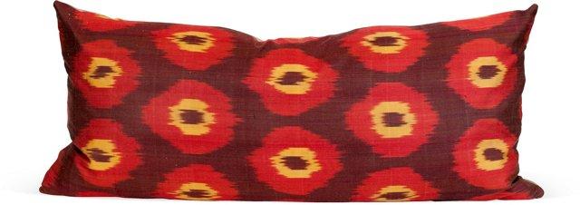 Ikat Lumbar Pillow, Red & Yellow