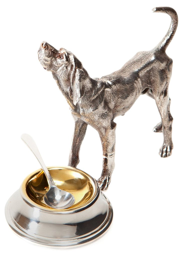 Silver-Plated Hound Dog Salt Cellar