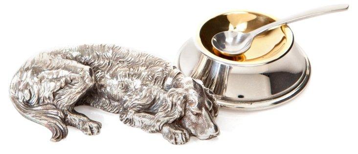 Silver-Plated Dog Salt Cellar & Spoon