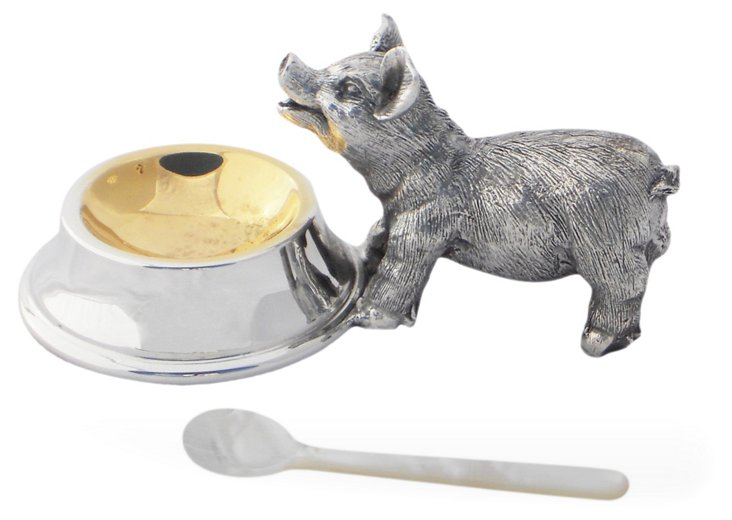 Silver-Plated Pig Salt Cellar & Spoon