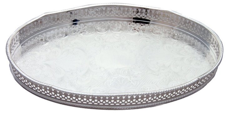 Silver-Plated Oval Leaf Gallery Tray