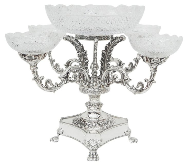 4-Arm Silver Epergne w/ Bowl & Dishes