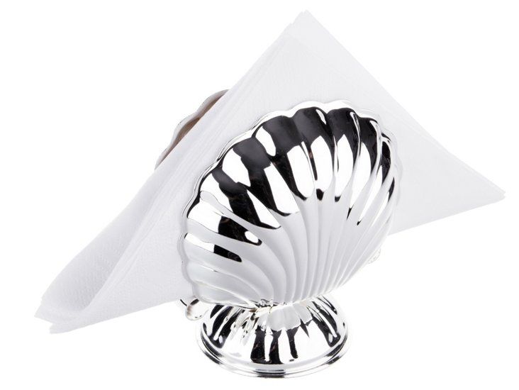 Silver-Plated Shell Napkin Holder