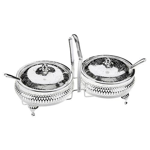 Silver-Plated Lidded Jam Server & Spoons