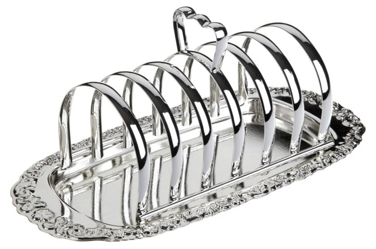 Silver-Plated Toast Rack w/ Floral Base