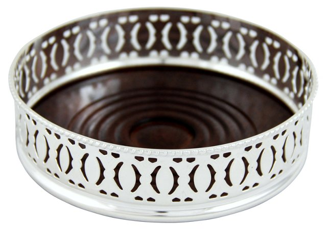 Silver-Plated Pierced Wine Coaster