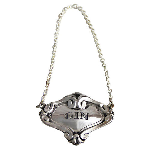 Antique-Inspired Gin Decanter Label, Silver