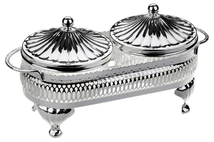 2-Pc Silver-Plated Round Party Set