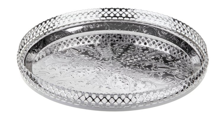 Silver-Plated Gallery Tray w/ Ball Feet
