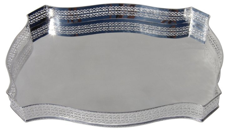 """Silver-Plated Octagonal Tray, 16"""""""