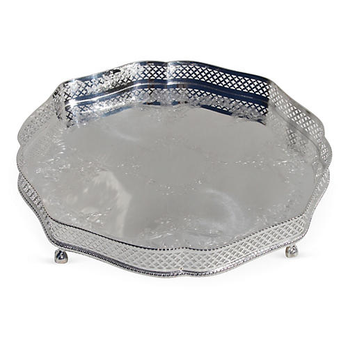 Silver-Plated Footed Gallery Tray