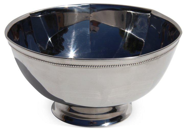 Silver-Plated Octagonal Bead-Edge Bowl
