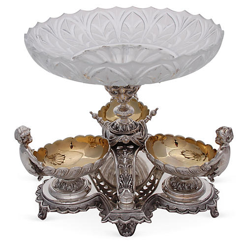 4-Pc Silver-Plated Epergne w/ Cherubs