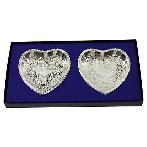 2 Heart Shaped Dishes in Fitted Box