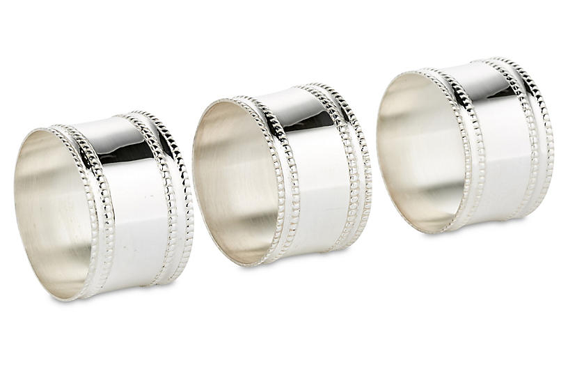 S/6 Beaded Napkin Rings, Silver Plated