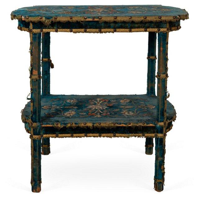 Embroidered Velvet Covered Table