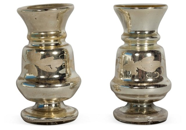 19th-C. Mercury Glass Vases, Pair