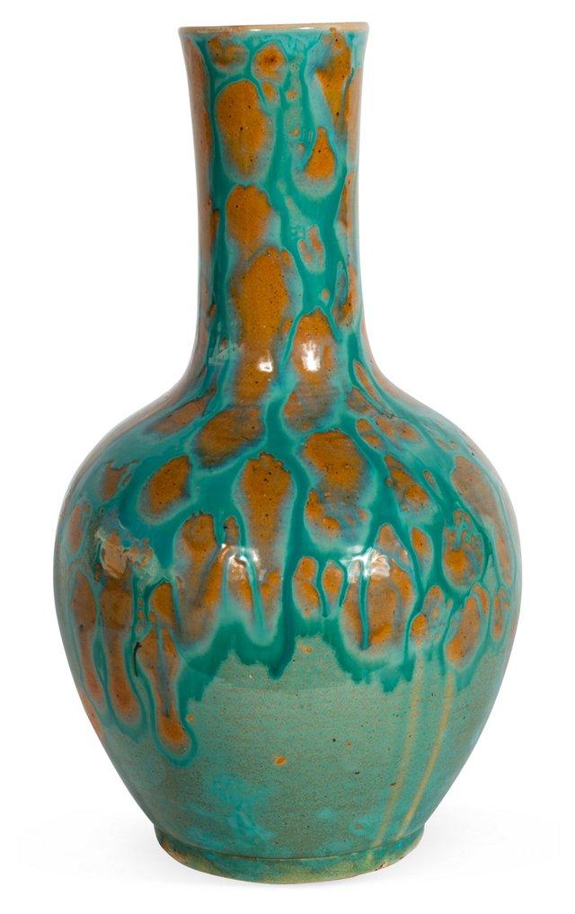 Aqua & Ochre Glazed Vase