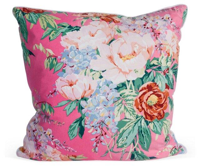Vintage Pink Floral Pillow, Large
