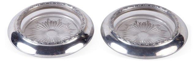 Silverplate Wine-Bottle Coasters, Pair