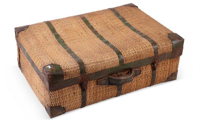 Large European Wicker Suitcase