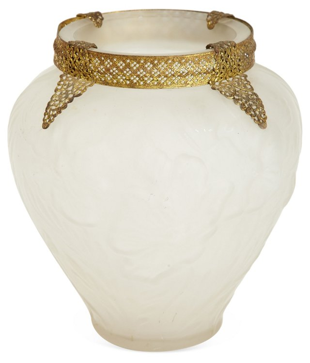 Frosted Vase w/ Gold Ormolu Accents