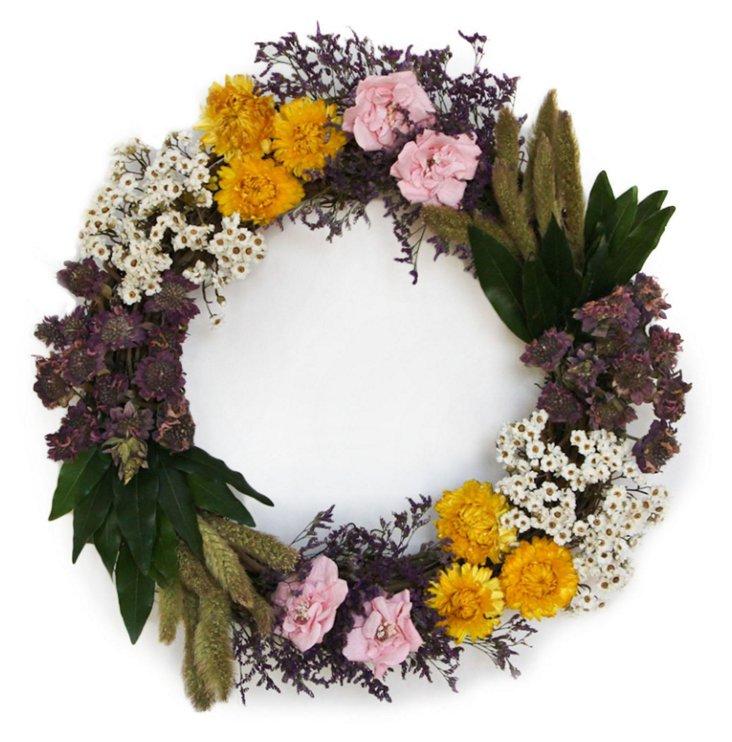 """18"""" Daisies & Roses Wreath, Dried"""