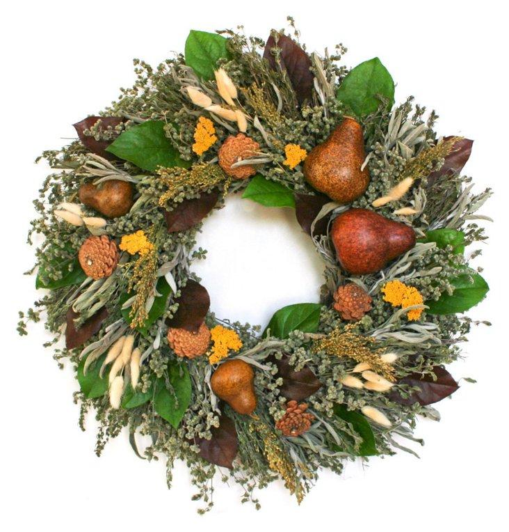 """22"""" Fall Bounty Wreath, Dried"""