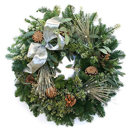 "20"" Glittered Pine w/ Bow Wreath, Live"