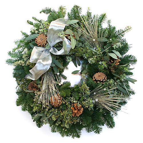 "20"" Glittered Pine w/ Bow Wreath, Live"