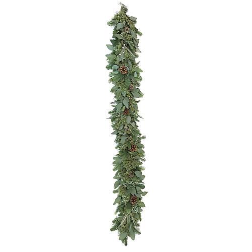 6' Glittered Pine Live Garland