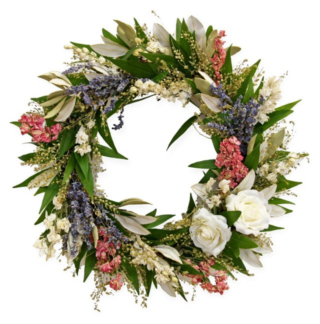 "17"" Floral Meadow Wreath, Dried"