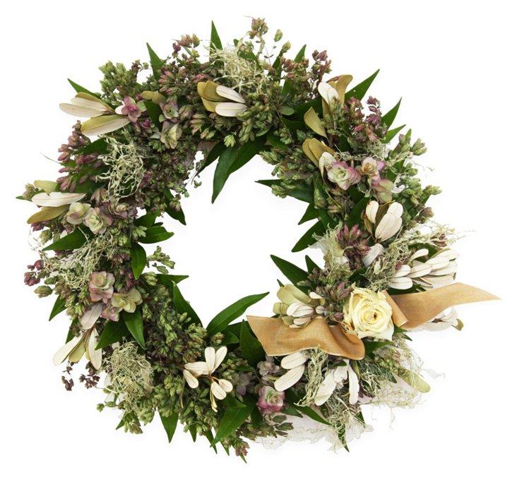 "16"" Oregano & Rose Wreath, Dried"