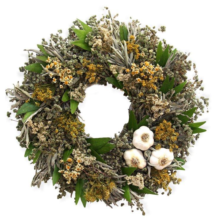 """15"""" Garlic Herb Wreath, Dried"""
