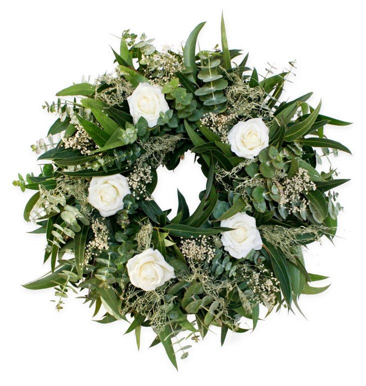 "18"" Fragrant Rose Wreath, Dried"