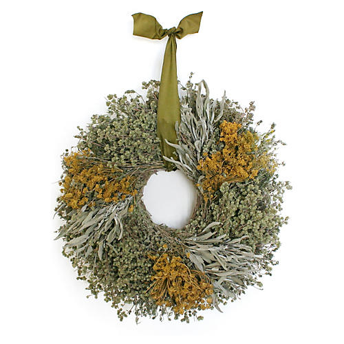"15"" Herbal Wreath w/ Ribbon, Dried"