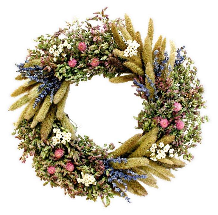 "16"" Daisy & Lavender Wreath, Dried"