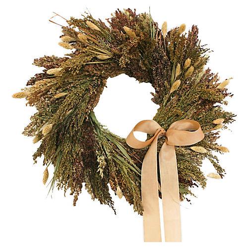 "16"" Rustic Grains Wreath, Dried"