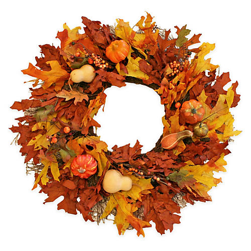 "22"" Fall Pumpkins & Gourds Wreath, Dried"