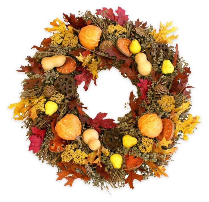 """22"""" Pears, Gourds & Quince Wreath, Dried"""