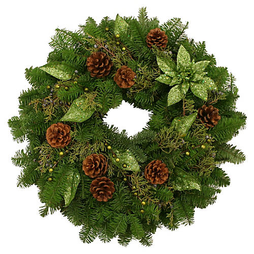 "20"" Poinsettia & Pinecone Wreath, Live"