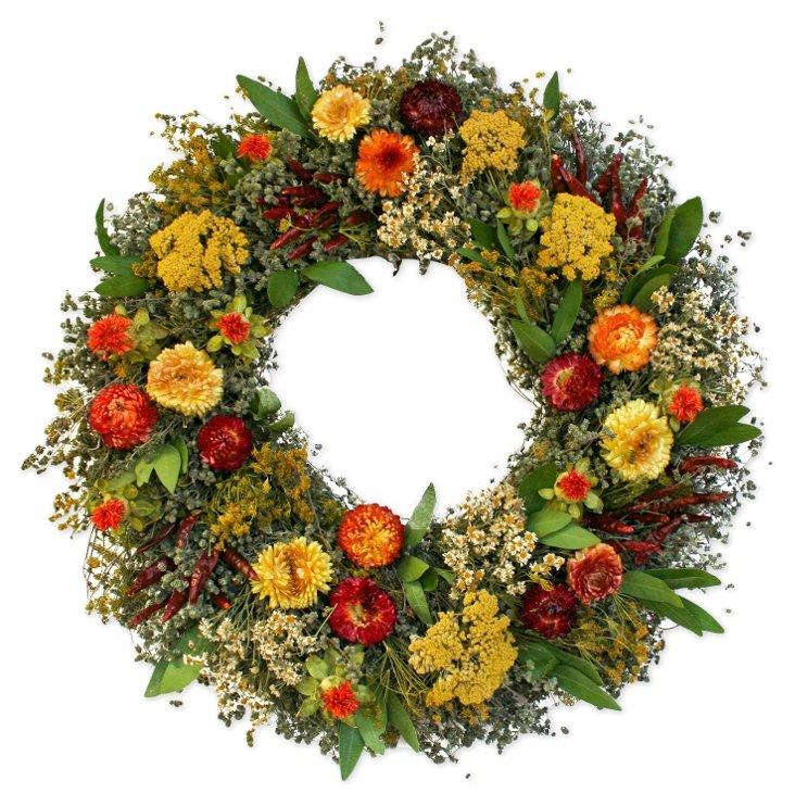 "18"" Bountiful Wreath, Dried"