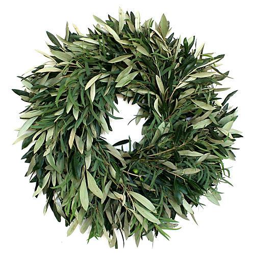 "20"" Olive & Eucalyptus Wreath, Live"